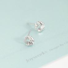 Small cute fashion earrings satin finished silver stud earrings for cute girls