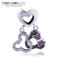 A pair 925 sterling silver mickey charms with heart & clear CZ black crystal small bow tie ruby CZ beads DIY silver jewelry