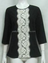 Passos bonito próprio projeto modelos de estilo blusas com renda para senhora de estilo Top mulheres Top