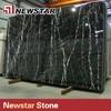 White Veins Polished Black Nero Marquina Marble Slab