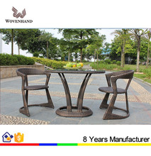 Cool style Outdoor wicker Oval cafe Table and chairs Set for restaurant balcony