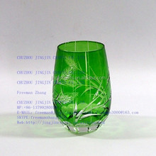 pink,blue,green ,rose copper spayed colored engraved,sangblasted,frosted,carved hand cut glass tumbler