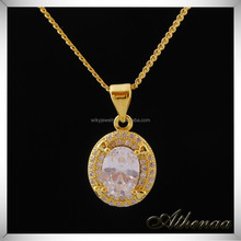 Factory Fashion Jewelry 18K Real Gold Vacuum Plated White Diamond Pendant