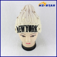 HZM-1430502 new design beige comfortable The stars and pearl new York hat