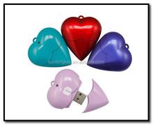 red heart usb flash memory , plastic heart shape drive