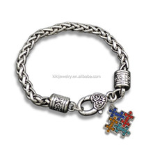 Free Shipping Colors Crystal Puzzle Piece Tibetan Silver Plated Wheat Chain Bracelet