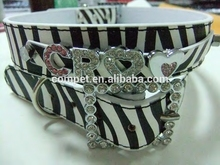 2.5cm Hot Selling for Years Zebra Pet collar PU Leather Pet Dog Collars