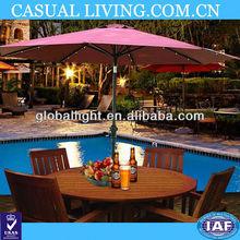 Outdoor 9'patio market solar umbrella LED light tilt sunshade garden parasol red