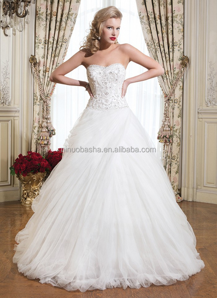 Stylish 2015 Tulle Made Ball Gown Wedding Dress With Sweetheart ...