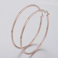 Trendsmax Womens Girls Big Round Tube Smooth Hoop Earrings Rose Gold Tone Stainless Steel Earrings