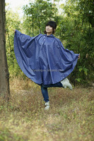 Stylish Polka Dots Women Hooded Rain Poncho Outdoor Hiking Funny Ponchos