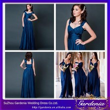 Sexy And Modest Sheath V-neck Cap Sleeve Ruffle Zipper Low Back Ankle Length Navy Blue Plus Size Bridesmaid Dresses SZ022