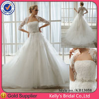 Jacket Free wedding gown/dresses with long train and beading belt Malay
