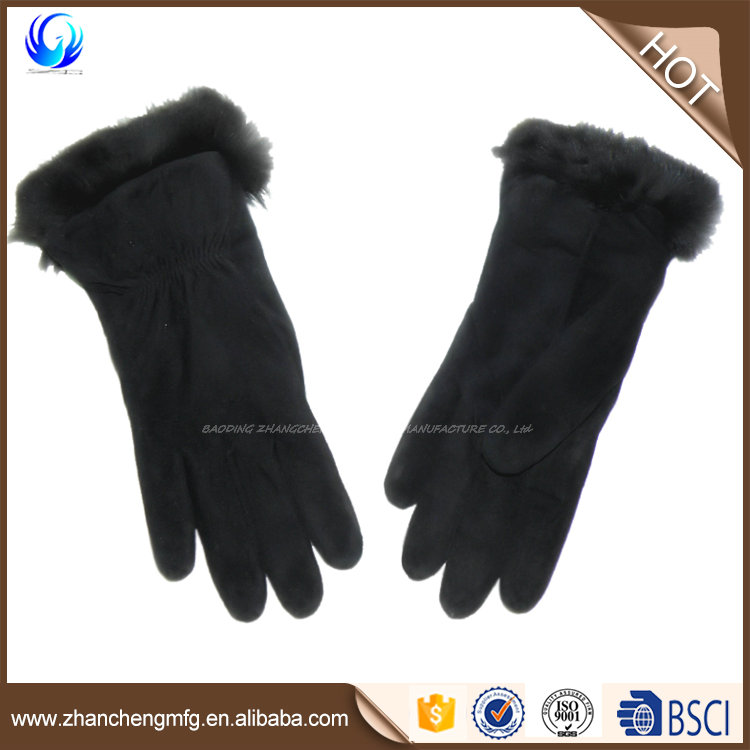 High quality black fur lining suede leather gloves made in China