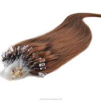 Hot new Micro Loop Ring/Beads Hair Extensions Human Natural Silky Straight Hair #06 dark chocolate brown 100s/set 0.5g/strand