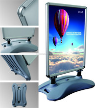 Pavement windproof water filled base aluminum poster frame advertising display stand