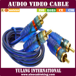 transparent blue 2 RCA to 2 RCA audio video cable male to male