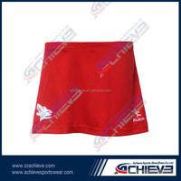 new pattern red netball skirt,short netball jersey,summer netball dress