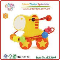 2015 New Kids Wooden Animal Beads Wooden Toy Wooden Beads Frame EZ3105