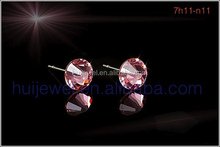6.2mm light rose austrian crystal stud earrings with 316L stainless steel $0.45