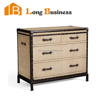 LB-VW5033 Travel inspiration metal shallow chest of four drawers with leather handles