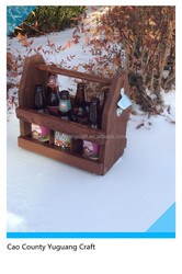 wooden material high quality beer tote drink carrier for 6 bottles