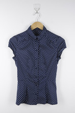 Cap Sleeve Polka Dot for Girls Mandarin Collar Shirt