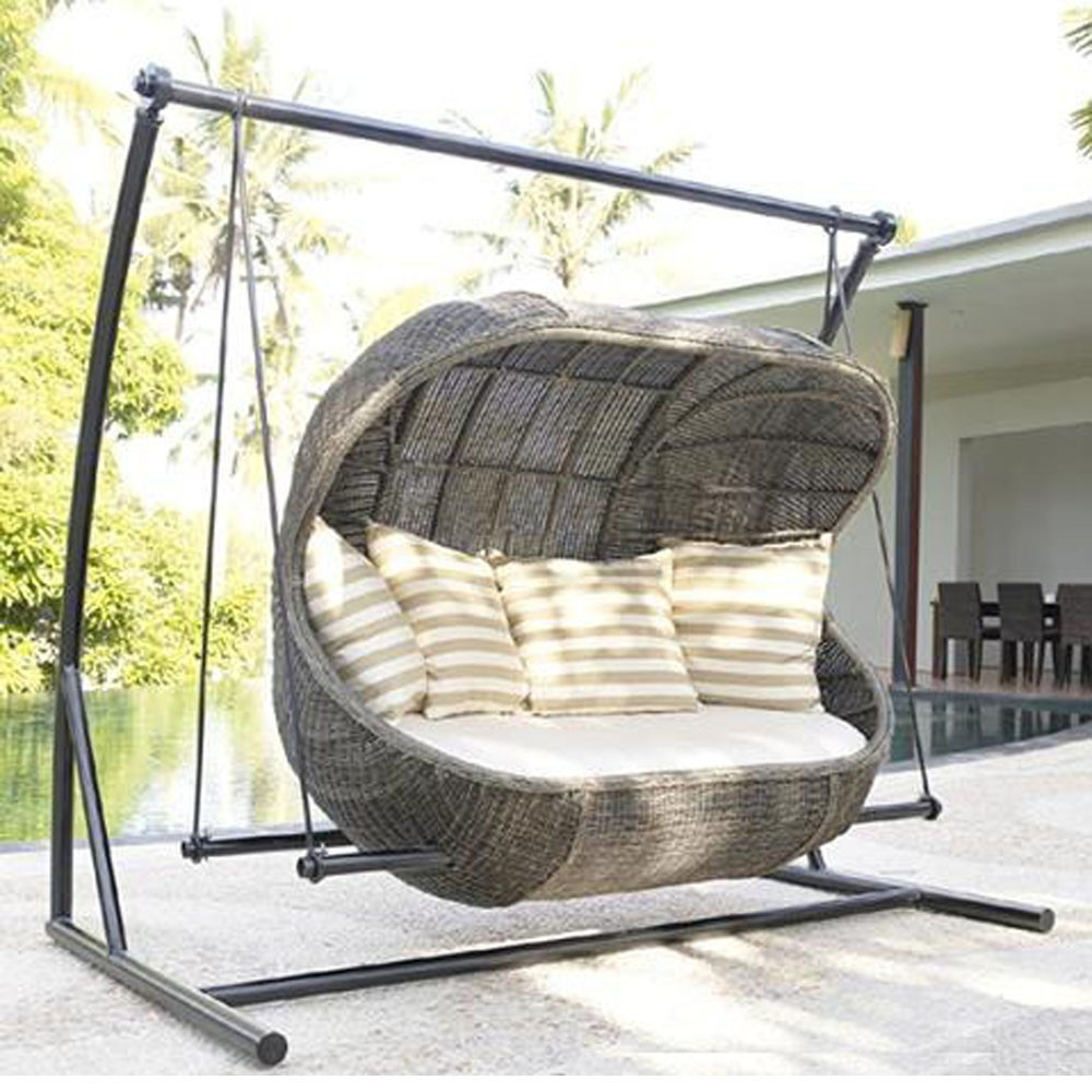 rattan synthetic wicker patio porch hanging swing chair. Black Bedroom Furniture Sets. Home Design Ideas