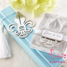 New Arrival Fleur-de-Lis Metal Bookmark Favors with Elegant White-Silk Tassel Wedding Party Favors