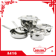 9pcs Stainless Steel Cookware wire handle SS lid
