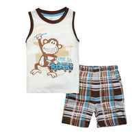 2015 New products listed Two-piece monkey printed color white short sleeve T-shirt suit Quality assurance