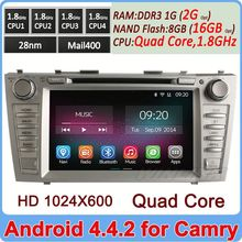 Newest 1024*600 Quad Core Cortex A9 Andriod 4.4 car video player for toyota camry 2007-2011 2G DDR3+16GB Flash