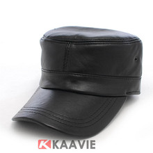 new fashion classic plain blank black leather cadet army military hat