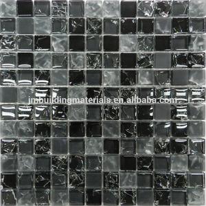 đen bóng& matt băng crackle tinh thể thủy tinh khảm ngói- backsplash ngói