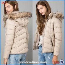 Wholesale Clothing Dubai Fashion Sand Nylon Jacket with Fur Hood Women