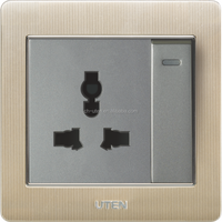 Hot sell! 13A Aluminium alloy panel switch,3 pin universal socket with 1 gang 1 way switch