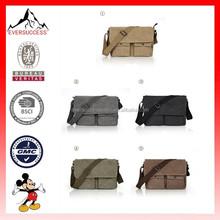 Men's Vintage Canvas Strap Bag Leather Shoulder Bag Messenger Bag