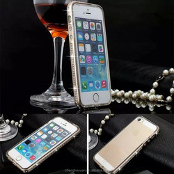 Ultra Slim Diamond Bling Metal Bumper Silicone Cover Case For iphone 5 5s