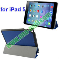 High Quality 3-folding Stand Leather Case for iPad 5 with Holder