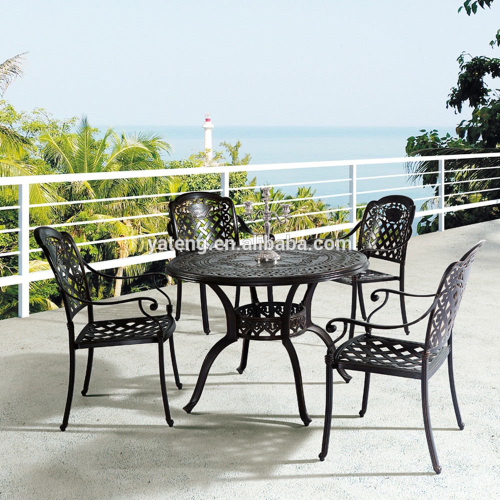 long lasting cast aluminum table and chair black aluminum outdoor patio furniture view black. Black Bedroom Furniture Sets. Home Design Ideas
