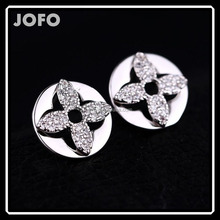 925 Steriling Silver Simple Round Shape Flower Rhinestone Golden and Platinum Plated