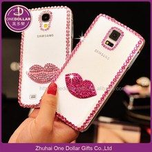 3D Bling Crystal cell phone Case for Iphone 6 Lip shape