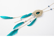 Europe and the United States women's fashion 18 k gold plated feather necklace