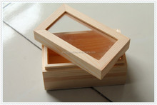 2015 upsale high quality decorative unfinished small wooden box with glass