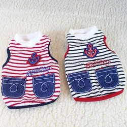 Pet Product double pockets striped sailor dog tank top