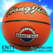 jiangsu cheap orange color rubber basketball size 7