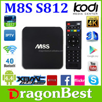 M8S Quad Core 4.4 Full Hd 1080P Porn Video Android Tv Box 2G/8G Bluetooth 4.0 And 2.0Mp Camera With Remote Control