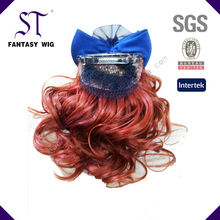 Red Deep wave Long Straight 5 Clip Onepiece Clip in Hair Extensions Synthetic Hairpiece