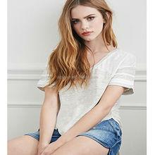 2015 Hot sale fashion ladies short sleeve pure color 100%cotton top
