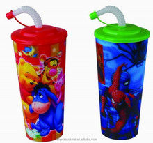 2015 plastic 3D lenticular cup with lid and straw for party or promotion